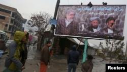 Biểu ngữ tranh cử của ứng viên Tổng thống Afghanistan Abdullah Abdullah tại Kabul, ngày 2/2/2014.