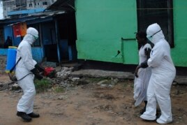 Health workers spray bleach solution on a woman suspected of having contracted the Ebola virus in Monrovia, Liberia, Sept. 15, 2014.