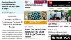 Laporan investigasi kolaborasi jurnalis Yogyakarta terkait ketersediaan tempat tidur rumah sakit bagi pasien Covid 19. (Foto: VOA/Nurhadi)