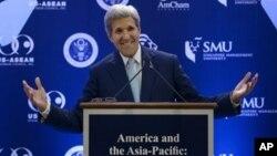 Menlu AS John Kerry saat memberikan pidato di Singapura, Selasa (4/8).