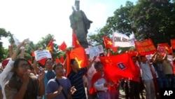 数百越南人6月5日在河内举行抗议,要求中国不要进入他们国家的水域