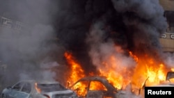 Cars burn following an explosion in the Haret Hreik area in the southern suburbs of the Lebanese capital Beirut. (File)