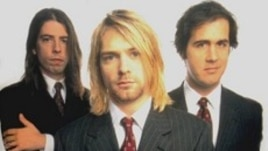Nirvana band members Dave Grohl (left), Kurt Cobain (front) and Krist Novoselic