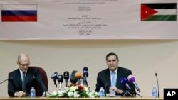 Сергей Кириенко и Халед Тукан на пресс-конференции, после подписания контракта. 24 марта 2015. Амман, Иордания.