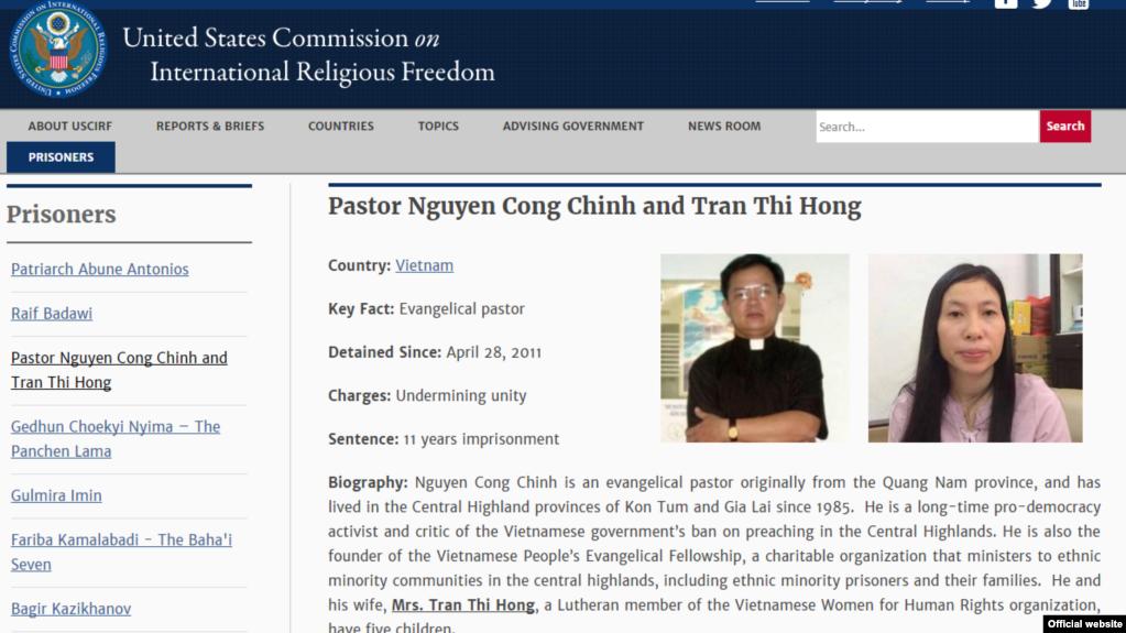 USCIRF giới thiệu hồ sơ Tù nhân Lương tâm Mục sư Nguyễn Công Chính và bà Trần Thị Hồng.