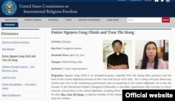 Hồ sơ của Mục sư Nguyễn Công Chính và bà Trần Thị Hồng được lưu chép trên trang web của Ủy hội Hoa Kỳ về Tự do Tôn giáo Quốc tế