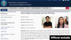 USCIRF website giới thiệu hồ sơ Mục sư Nguyễn Công Chính và bà Trần Thị Hồng.