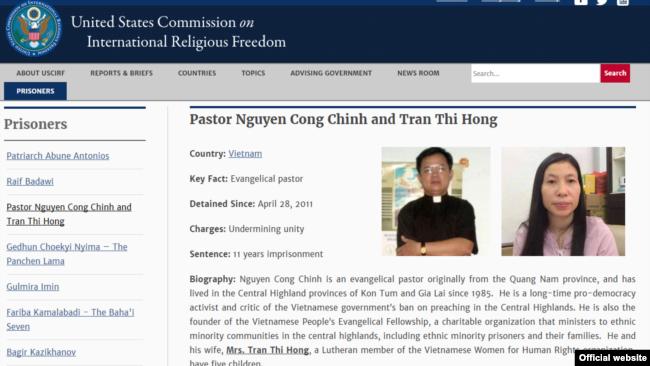USCIRF website giới thiệu hồ sơ Mục sư Nguyễn Công Chính và bà Trần Thị Hồng