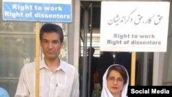 فرهاد میثمی فعال مدنی در کنار نسرین ستوده وکیل دادگستری