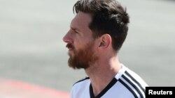 Lionel Messi lors d'un entraînement à Moscou, le 25 juin 2018.