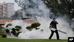 Seorang petugas melakukan penyemprotan pestisida di lokasi ditemukannya kasus virus Zika di Singapura (1/9). (AP/Wong Maye-E)