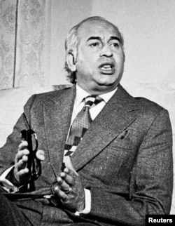 Former Pakistani Prime Minister Zulfikar Ali Bhutto, father of the late opposition leaderand former Prime Minister Benazir Bhutto, is shown in this undated file photo.