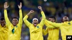 巴西在里約奧運足球賽中星期六戰勝德國贏得金牌