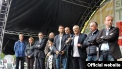 Lideri Demokratskog fronta na protestu u Podgorici (rtcg.me)