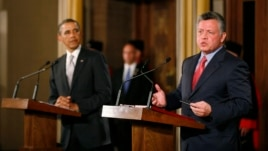Jordan's King Abdullah speaks during a joint news conference with U.S. President Barack Obama at Al-Hummar Palace in Amman, March 22, 2013.