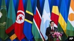 Chủ tịch Trung Quốc Hồ Cẩm Đào đọc diễn văn khai mạc Hội nghị thượng đỉnh với các lãnh đạo Châu Phi ở Bắc Kinh, ngày 19/7/2012