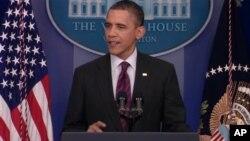 Shugaban Amurka Barack Obama a taro da manema labarai a Fadar White House, ranar Talata.