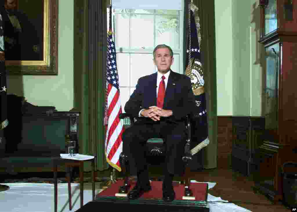 October 7, 2001 -- Three weeks after the September 11 terror attacks on the United States, President George W. Bush announces Operation Enduring Freedom, with U.S. military strikes against al- Qaida terrorist camps and Taliban bases in Afghanistan. In an