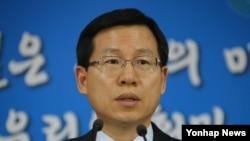 김의도 한국 통일부 대변인이 28일 정부서울청사에서 열린 정례브리핑에서 취재진의 질문에 답변하고 있다.