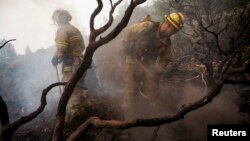 Firefighters battle a blaze at Yosemite National Park, California, August 24, 2013.