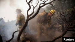 Para petugas pemadam kebakaran berusaha memadamkan api yang melanda pinggiran barat taman nasional Yosemite di negara bagian California (24/8).