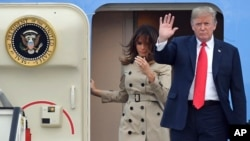 U.S. President Donald Trump and First Lady Melania Trump arrive on Air Force One at Melsbroek Military airport in Melsbroek, Belgium, July 10, 2018.