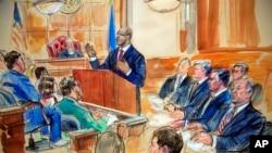 法庭素描中馬納福特坐在右排,右數第二。