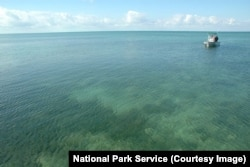 A National Park Service boat in Biscayne Bay