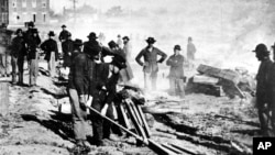 American Civil War Union Army troops march to the sea in this updated photo.