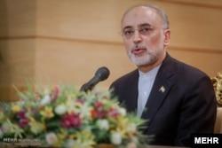 FILE - The head of Iran's Atomic Energy Organization, Ali Salehi, speaks in Tehran, July 15, 2015.
