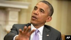 12일 백악관에서 바락 오바마 미국 대통령이 이라크 사태에 대한 입장을 밝히고 있다.