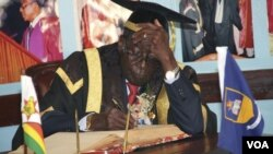 Students staged a protest infront of President Robert Mugabe demanding jobs for graduates.