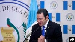 El presidente de Guatemala, Jimmy Morales, encabezó la ceremonia de inauguración de la embajada de su país en Jerusalén el miércoles, 16 de mayo, de 2018.