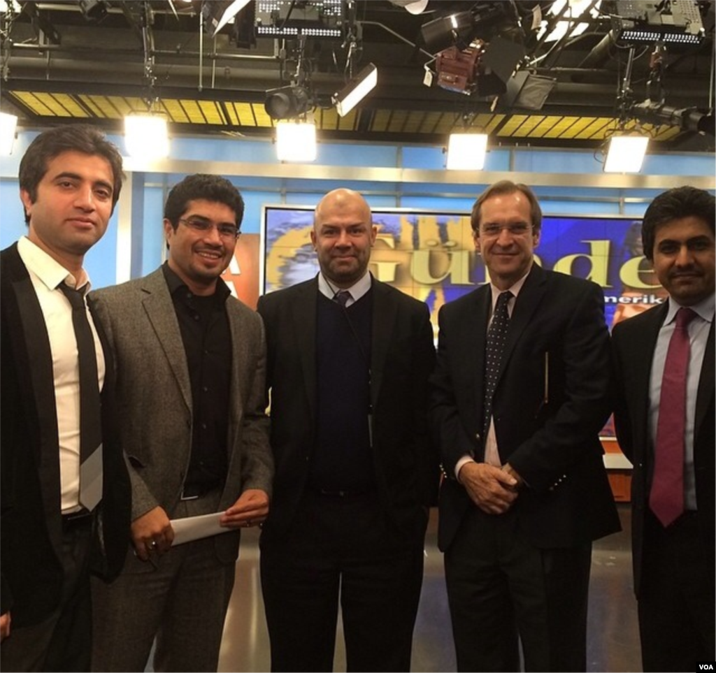 From left to right: Afghan staff members Abdullah Orokzai, Ahmad Sear Zia, service chief Masood Farivar, VOA Director David Ensor, and Said Suliman Ashna from the Afghan Service after an episode of the TV program Pivot Line.