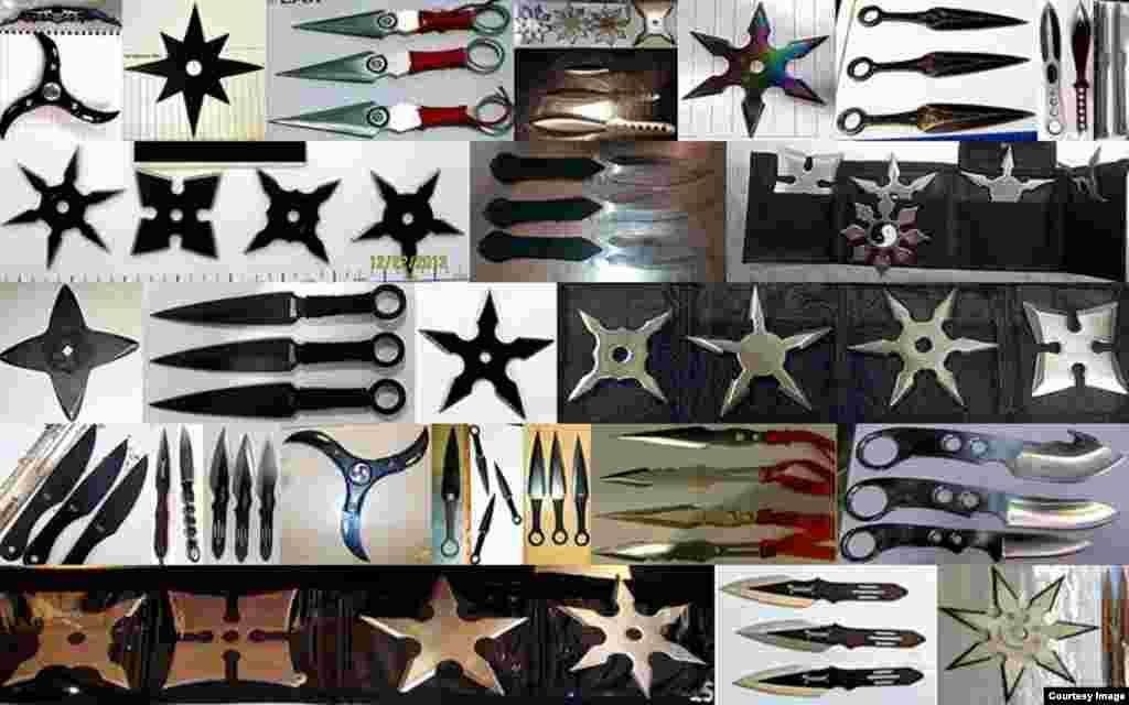 Senjata pelempar berbentuk bintang dan senjata lainnya yang ditemukan TSA.