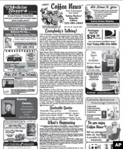 Coffee News contains light content, surrounded by neighborhood ads.