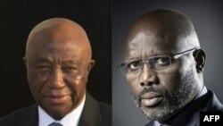 Le vice-président libérien Joseph Boakai, 16 octobre 2017, et l'ancien joueur de football et ambassadeur de bonne volonté de l'Unesco, Goerges Weah, 5 août 2014, les deux candidats au second de la présidentielle au Liberia.
