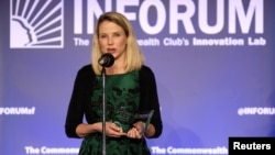 FILE - Yahoo CEO Marissa Mayer speaks at a Salesforce event at the Commonwealth Club in San Francisco, Oct. 30, 2014.
