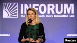 CEO Yahoo Marissa Mayer berbicara di acara Salesforce di the Commonwealth Club, San Francisco, 30 Oktober 2014.