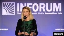 CEO Yahoo Marissa Mayer berbicara di acara Salesforce di the Commonwealth Club, San Francisco, 30 Oktober 2014.