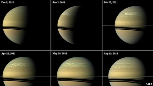 This series of images from NASA's Cassini spacecraft shows the development of the largest storm seen on the planet since 1990. These true-color and composite near-true-color views chronicle the storm from its start in late 2010 through mid-2011, showing h