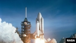 First launch of the Space Shuttle Columbia on April 12, 1981.