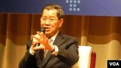 台湾前副总统萧万长将带领台湾代表团出席APEC峰会 (美国之音许波 拍摄)