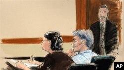 紐約法庭星期四指控阿巴卜西亞爾(中)參與暗殺沙特大使的陰謀。(法庭繪圖)