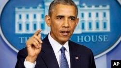 """""""Espero que estén escuchando, porque si son serios, el soldado debe ser liberado lo antes posible"""", dijo Obama en conferencia de prensa."""