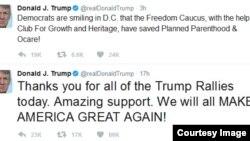Dòng Twitter của TT Trump về Luật Chăm sóc Y tế (American Healthcare Act)