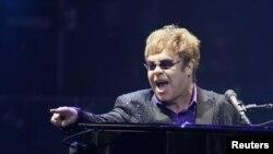 Elton John performing in Ukraine last year