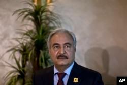 FILE - Gen. Khalifa Hifter, military chief of Libya's internationally recognized government, shown in Amman, Jordan, Aug. 24, 2015.