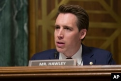 FILE - Sen. Josh Hawley, R-Mo., speaks during a hearing of a Senate Judiciary Committee in Washington, March 6, 2019.