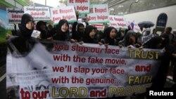 Người Hồi giáo Thái Lan biểu tình trước Đại sứ quán Mỹ ở Bangkok, ngày 18/9/2012